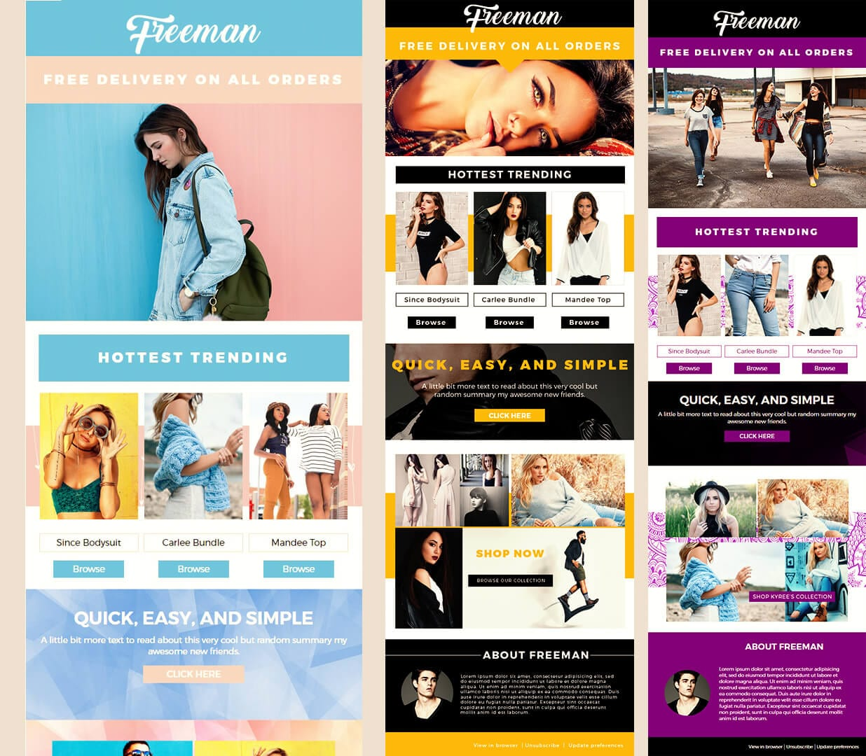 Freeman Fashion Premium Mailchimp Email Newsletter Template promo images