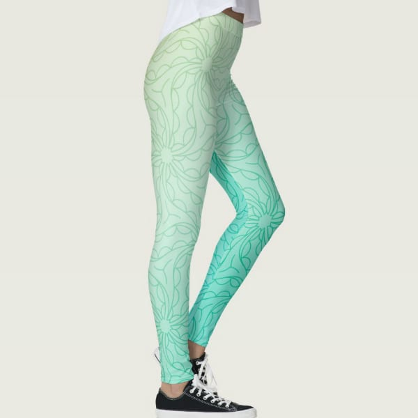 Turquoise Light Sea Blue Two-Tone Print Leggings