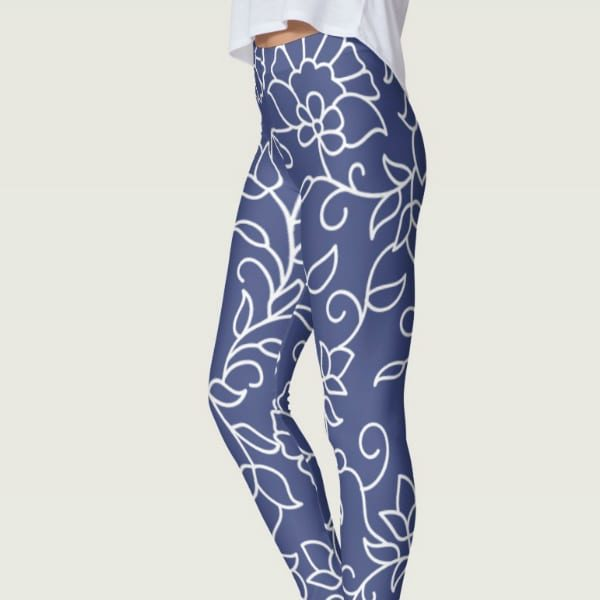 Dark Blue and White Floral Pattern Leggings