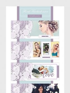 floral lace purple and white facebook cover facebook banner photoshop template