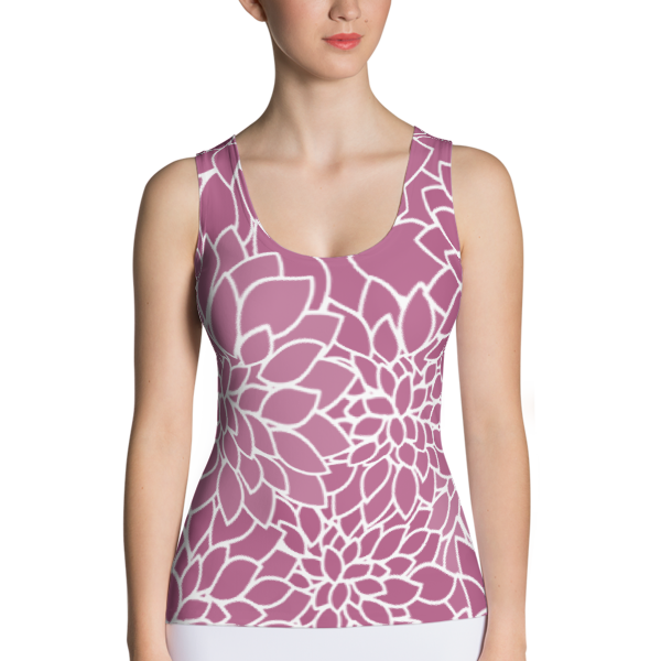 Abstract Leafy Purple Tank Top