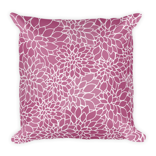 Abstract Leafy Purple Square Pillow