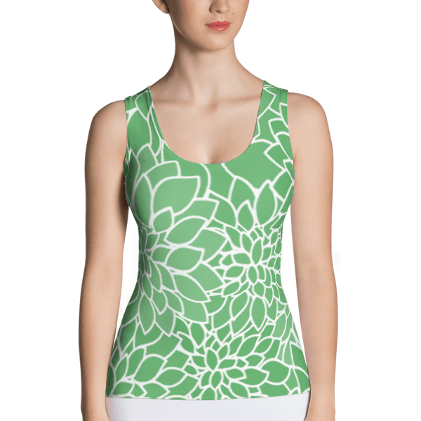 Abstract Leafy Green Tank Top