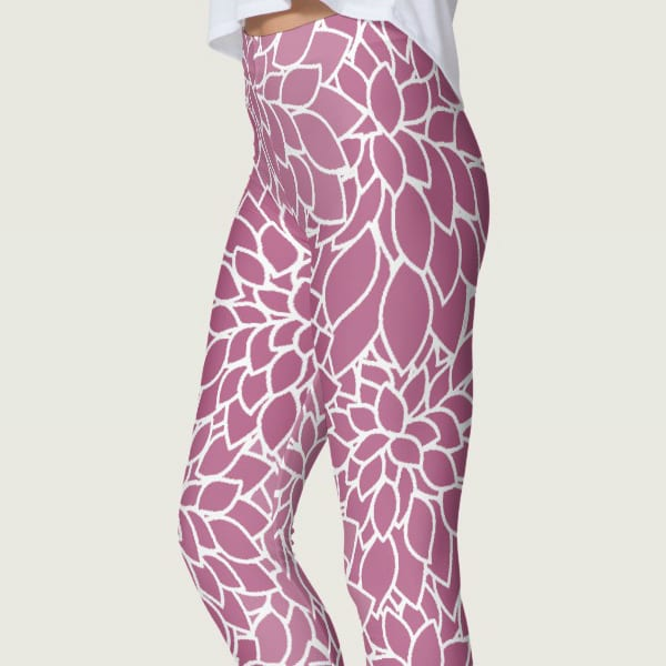 Abstract Leafy Purple Leggings