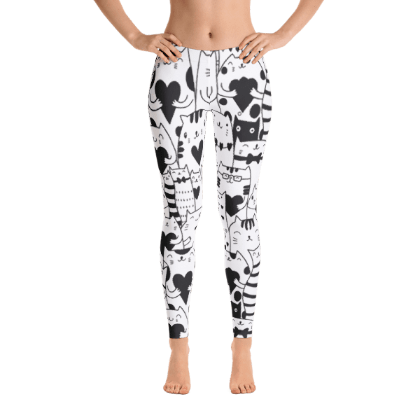 Heart You Black and White Cat Leggings