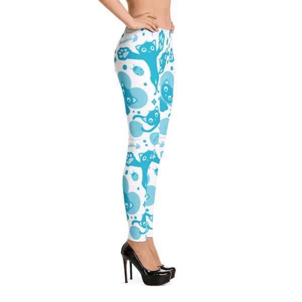 Meow Love Blue and White Cat Leggings