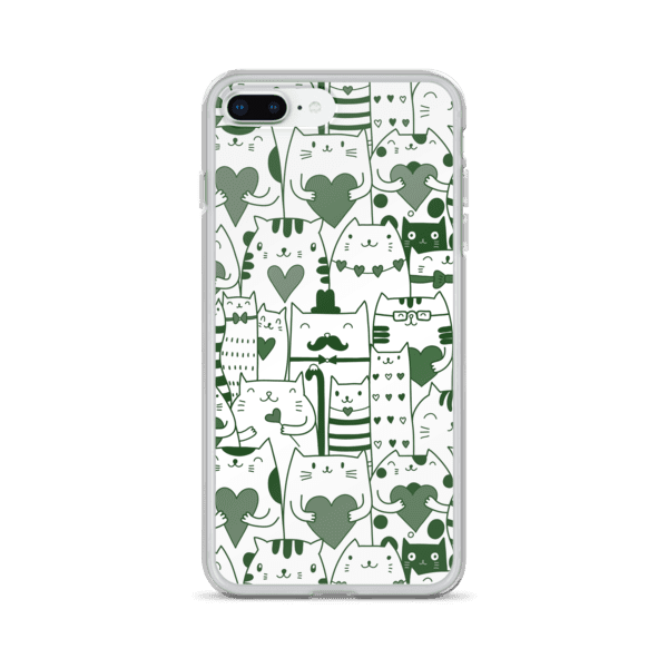 Heart You Green and White Multi-Cat Pattern iPhone Case