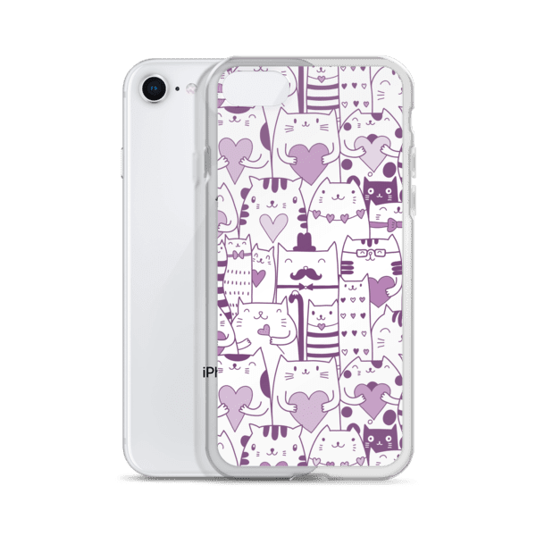 Heart You Purple and White Multi-Cat Pattern iPhone Case