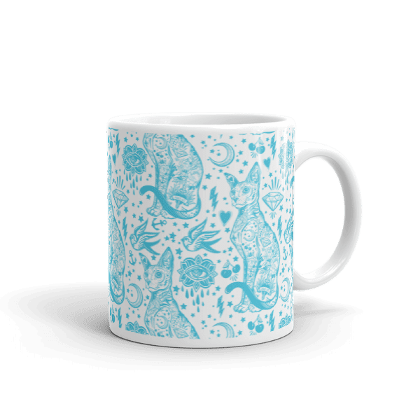 Tattoo Blue and White Cat Pattern Mug