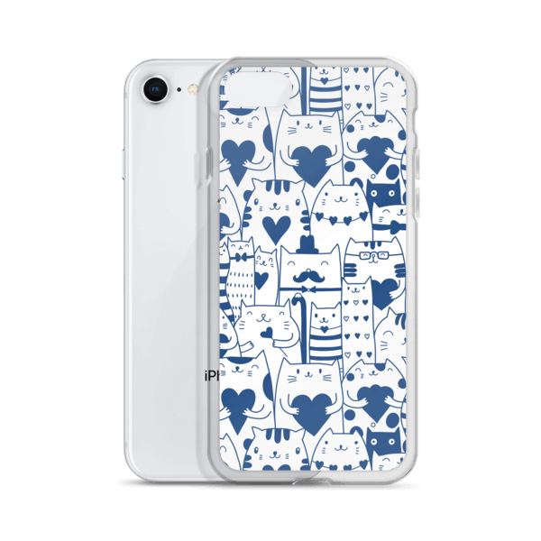 Heart You Blue and White Multi-Cat Pattern iPhone Case
