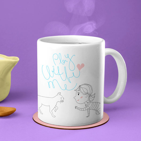 play with me crazy cat lady kitten mug
