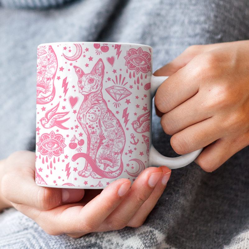 Tattoo Pink and White Cat Pattern Mug