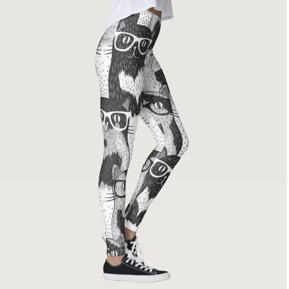 Munchkin Cat Geeks Gray scale Leggings