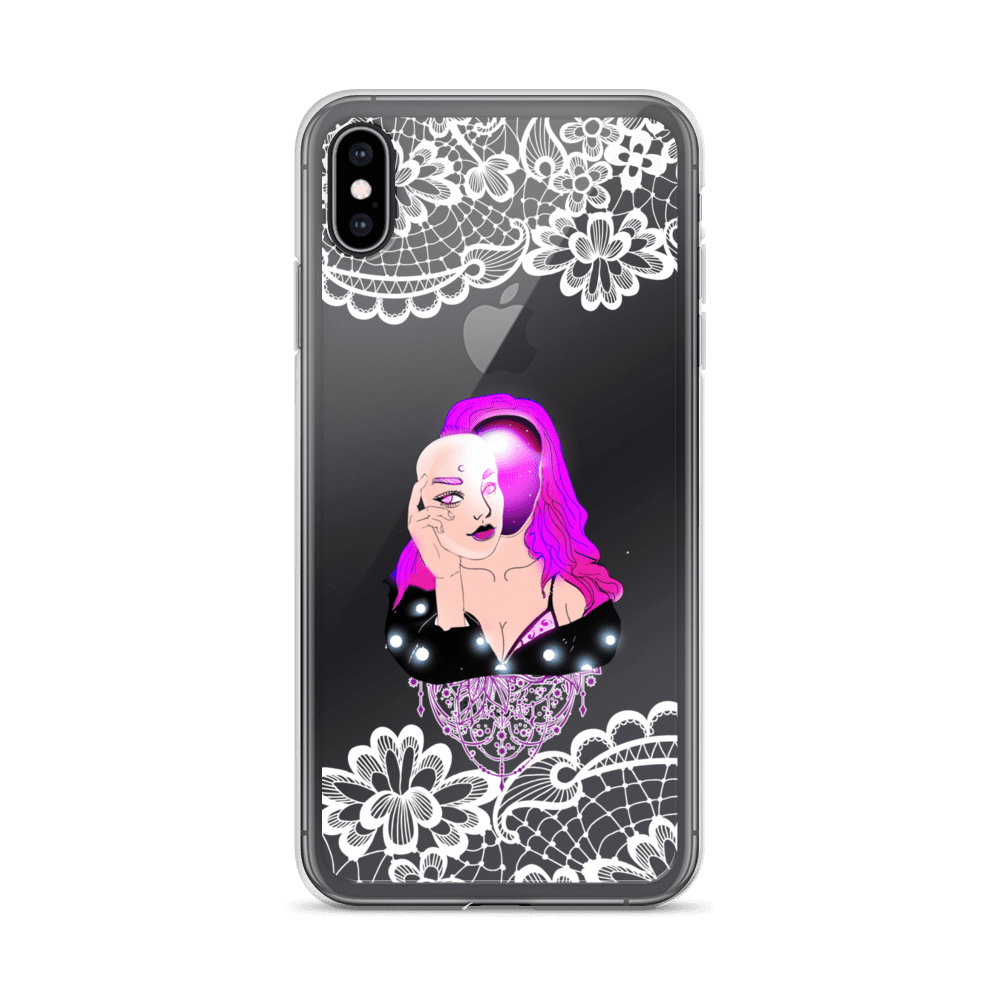 Unmasked Galaxy Alien Clear Lace iPhone Case