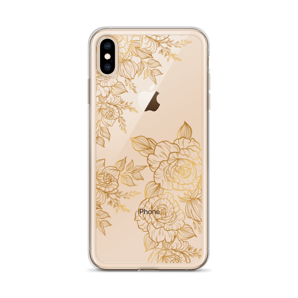 Golden Rose Peony Tattoo Clear iPhone Case