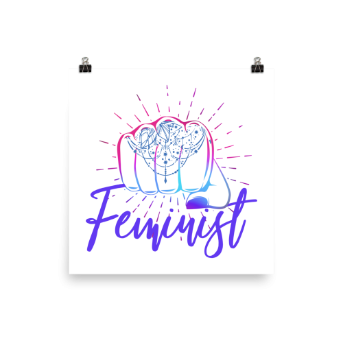 Feminist Girl Power Punch Tattoo Wall Art Print Poster