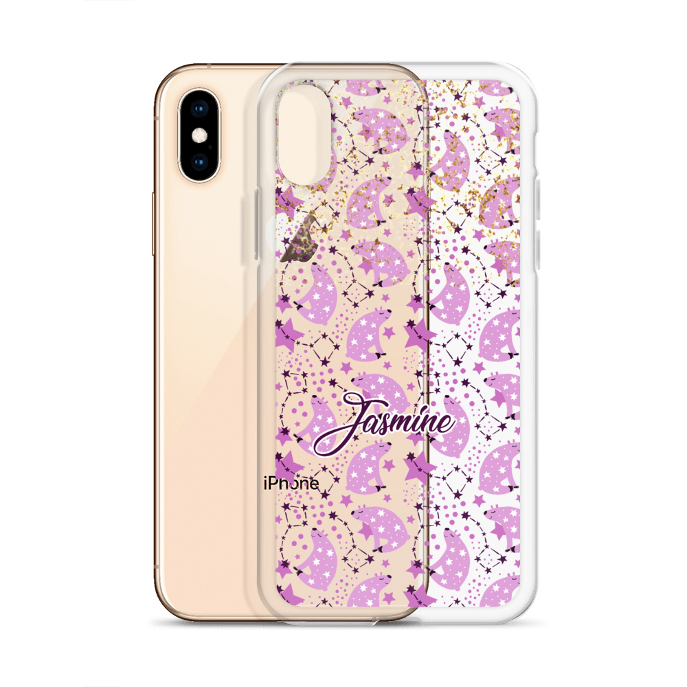 Celestial Bears Clear Gold Personalized iPhone Case