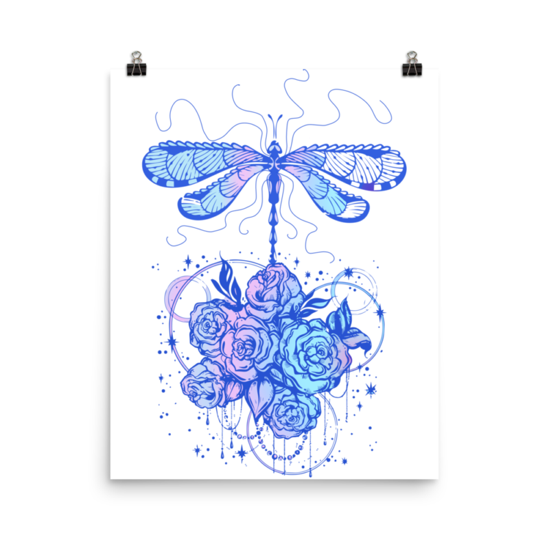 Dragonfly dreams illustration wall art, dragonfly digital art, graphic design dragonfly,