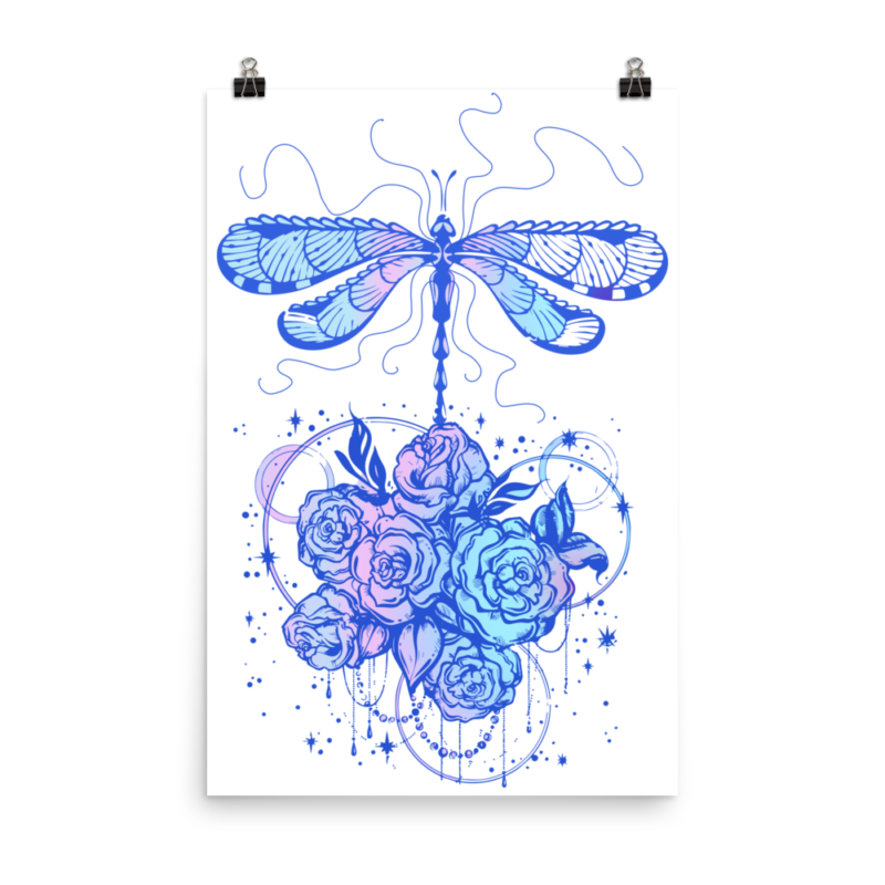 Dragonfly dreams illustration wall art, dragonfly digital a, graphic design dragonfly,