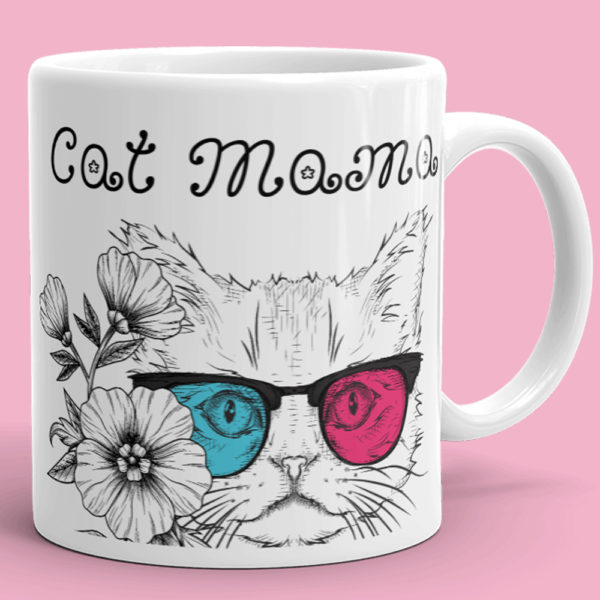 Cat Mama Coffee Mug - Cool Glasses Cat Mom Mug