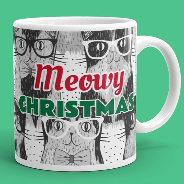 Meowy Christmas Cat Mug - Cat Lover Gift