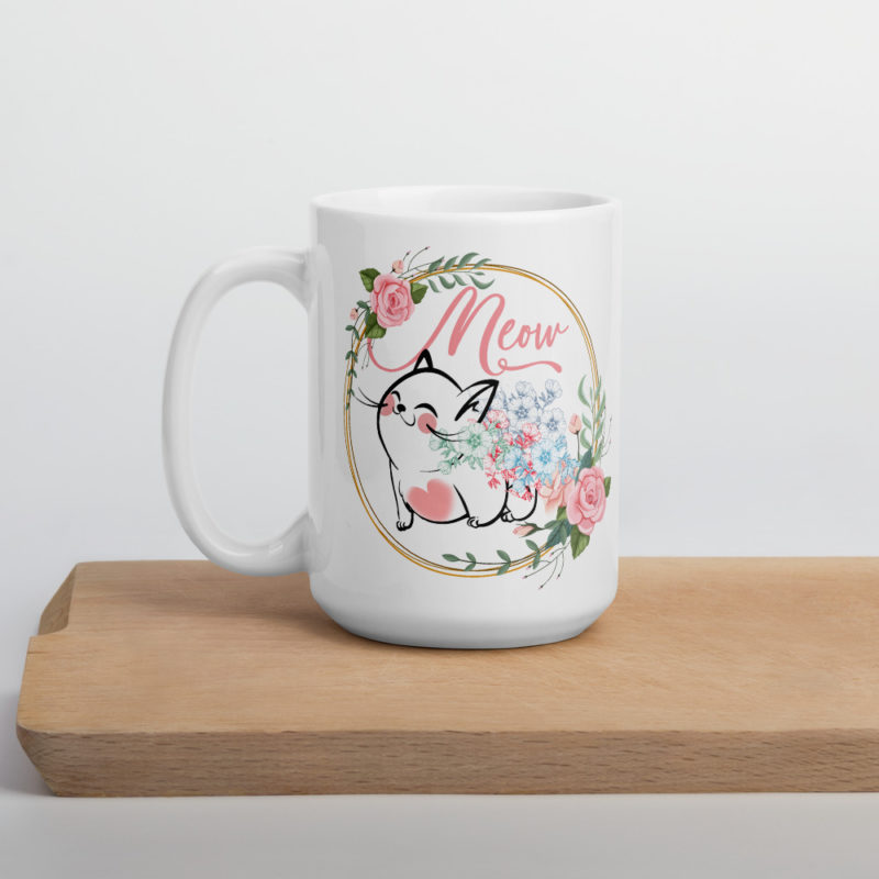 Cat Coffee Mug With Munchkin Cat inside Floral Wreathe - Munchkin Cat Christmas Gift For Cat Lovers