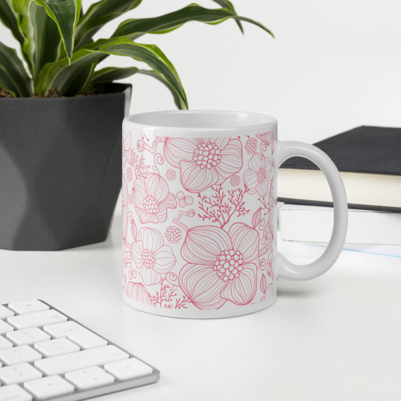 Pink Floral Hibiscus Rose Ceramic Coffee Mug