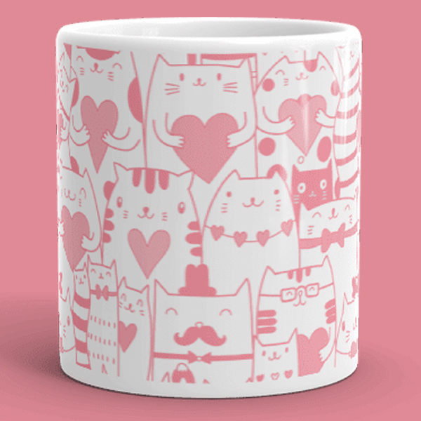 Heart You Multi-Pattern Cat Pink and White Mug