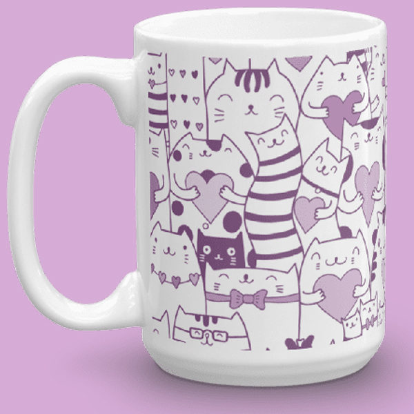 Heart You Multi-Pattern Cats Purple and White Mug