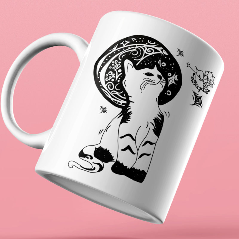 Celestial Constellation Space Tabby Cat Mug For Cat Lovers