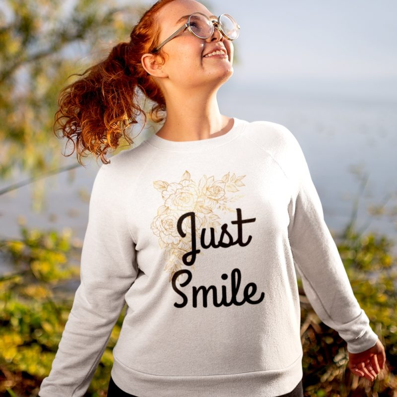 Just Smile Gold Camellia Spring Flowers Sweatshirt