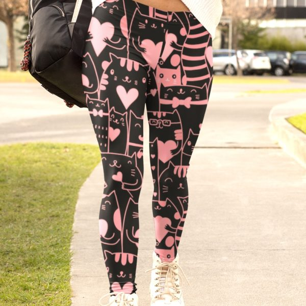 Black and Pink Kawaii Munchkin Cats, and Kittens Printed Leggings