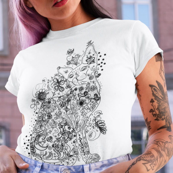 Wicked Sweet Floral Sphynx Cat Tattoo Short-Sleeve T-Shirt