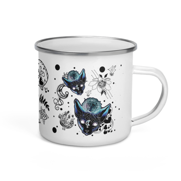 Wicked Kittens, and Skulls Enamel Mug 12 oz
