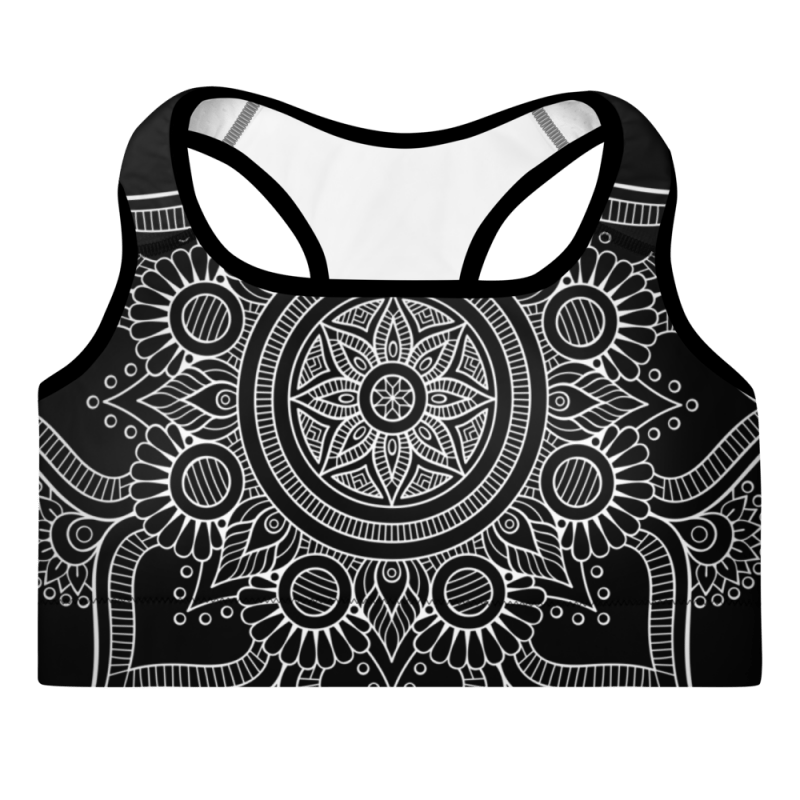 mockup-Black Bohemian Queen of Queens Mandala sports bra.png