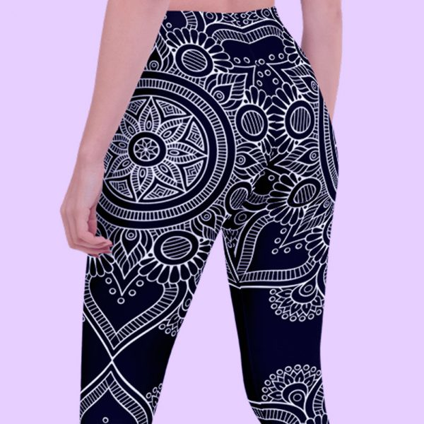 Black Bohemian Queen of Queens Mandala Leggings